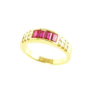 Genuine Ruby and Diamond Ring in 18k Yellow Gold