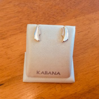 Kabana 14k Yellow Gold Mother of Pearl and Diamond Earrings