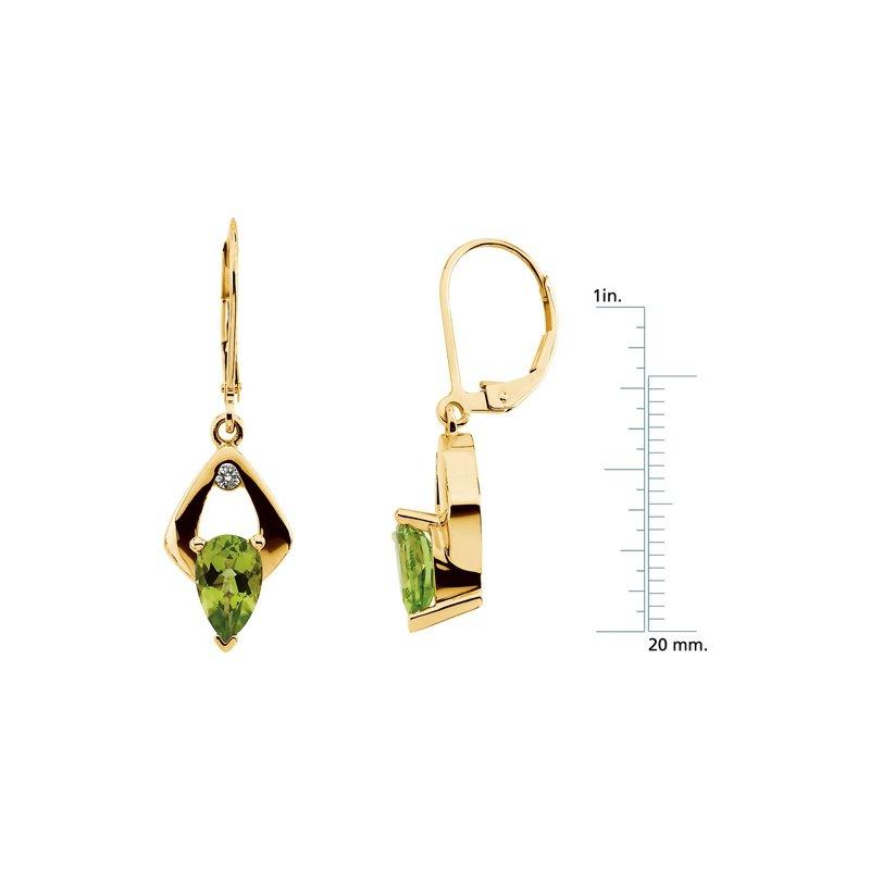 Signature Collection Genuine Peridot & Diamond Earrings
