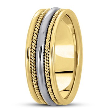 Unique Settings HM110 - Y - W - 14k Yellow and White Gold Handmade Handwoven 7mm Men's Wedding Band