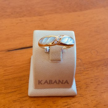 Kabana White Mother of Pearl and Diamond Ring in 14k Yellow Gold #34466
