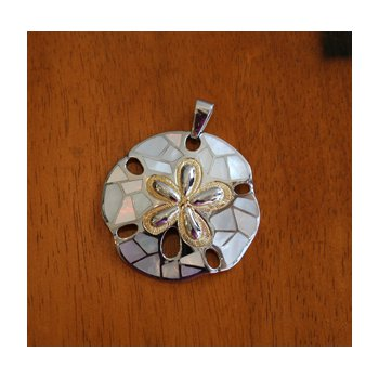 Sterling Silver and Gold Plate Large Sand dollar Slide Pendant  with inlaid White Mother of Pearl.