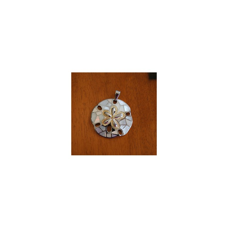 Kovel Sealife Sterling Silver and Gold Plate Large Sand dollar Slide Pendant  with inlaid White Mother of Pearl.