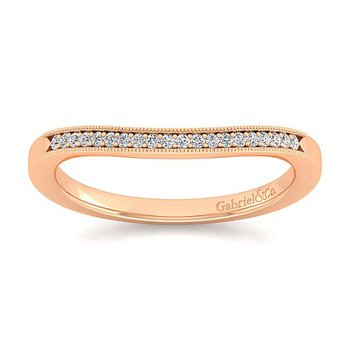 Gabriel NY 14k Rose Gold Victorian Style Curved Diamond Wedding Band Style #WB11721R4K44JJ