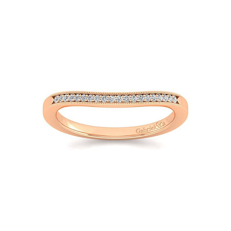 Gabriel NY Gabriel NY 14k Rose Gold Victorian Style Curved Diamond Wedding Band Style #WB11721R4K44JJ