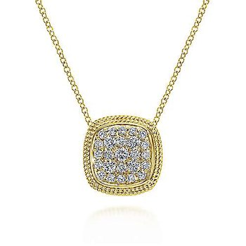"14k Yellow Gold Cushion Shape Diamond Pave' 18"" Necklace"