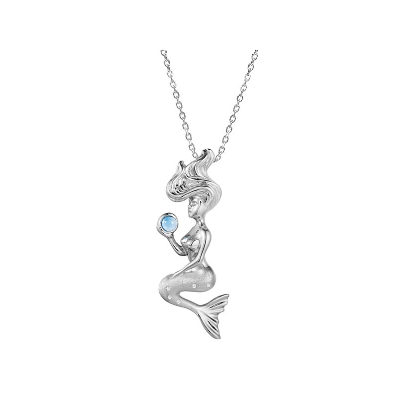Sealife Jewelry Sterling Silver Mermaid Pendant with Larimar
