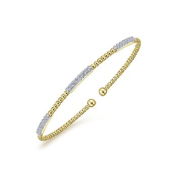14k Yellow Gold Bujukan Bead Cuff Bracelet With Diamond Pavé Stations