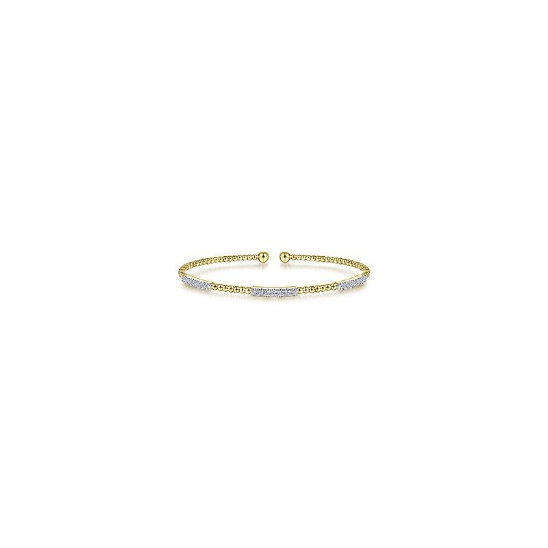 Signature Collection 14k Yellow Gold Bujukan Bead Cuff Bracelet With Diamond Pavé Stations