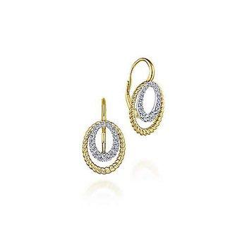 14k Yellow & White Twisted Rope Oval Diamond Drop Earrings