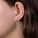 Signature Collection 14k Yellow & White Twisted Rope Oval Diamond Drop Earrings