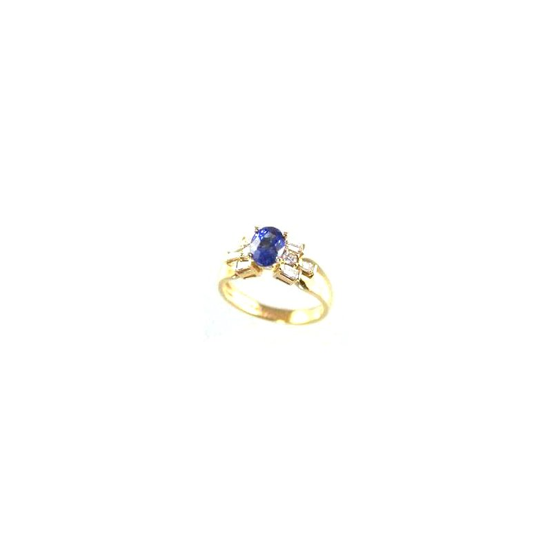 Signature Collection Genuine Tanzanite and Diamond Ring in 18k Yellow Gold