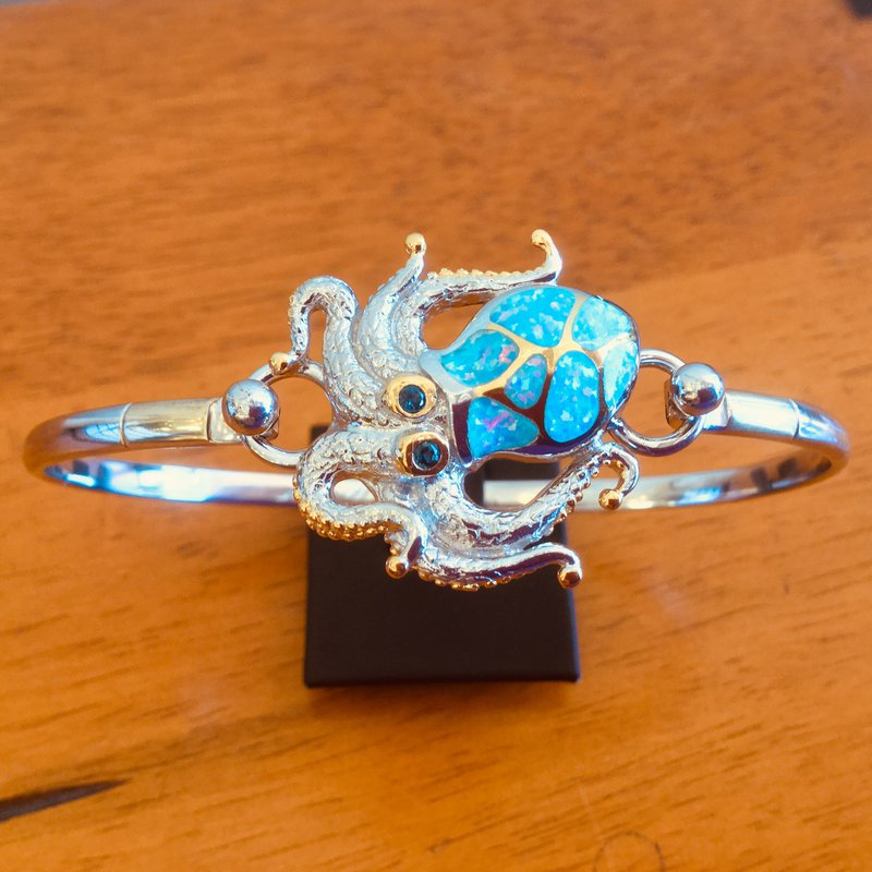 Kovel Sealife Sterling Silver and 18k Gold Plate Octopus Topper with Kyocera Lab Created Opal