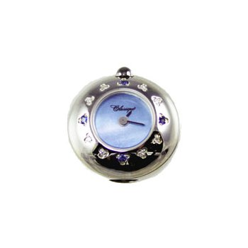 Sterling Silver Bead Watch with Blue Sapphire, Diamond and Blue Mother of Pearl