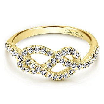Gabriel NY 14k Yellow Gold Love Knot Diamond Ring - Style #LR50151Y45JJ
