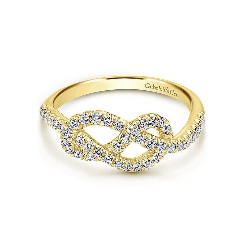 Gabriel NY Gabriel NY 14k Yellow Gold Love Knot Diamond Ring - Style #LR50151Y45JJ