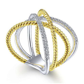 14k Yellow & White Gold Criss Cross & Twisted Rope Diamond Ring by Gabriel NY