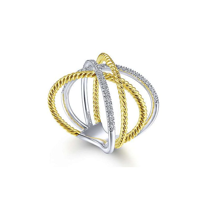 Signature Collection 14k Yellow & White Gold Criss Cross & Twisted Rope Diamond Ring by Gabriel NY