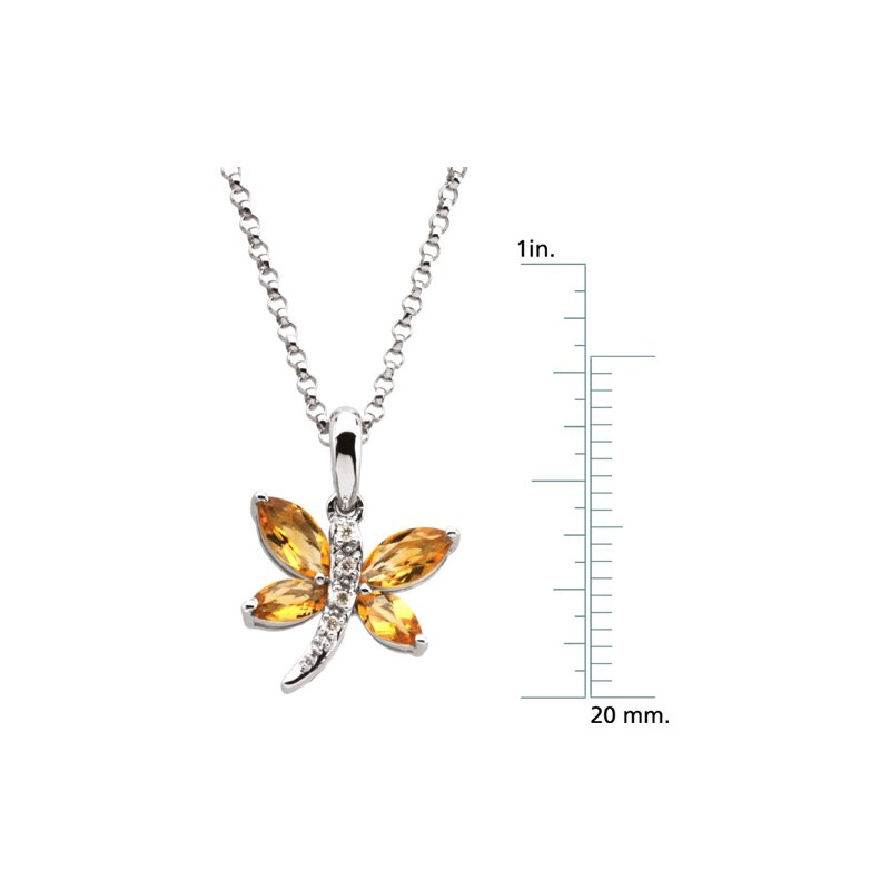 Signature Collection Genuine Citrine & Diamond Dragonfly Necklace