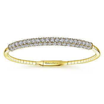 "Demure 14k 7"" Yellow Gold Diamond Bangle Bracelet BG3987 by Gabriel NY"