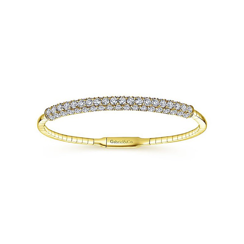 "Signature Collection Demure 14k 7"" Yellow Gold Diamond Bangle Bracelet BG3987 by Gabriel NY"