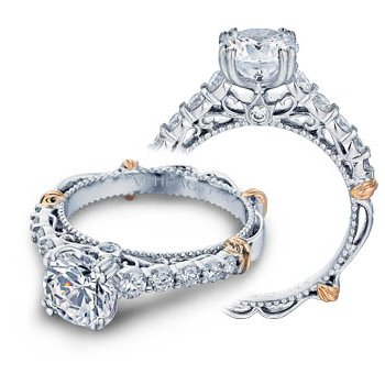Verragio Parisian-116 - 14k White and Rose Gold Diamond Engagement Ring by Verragio