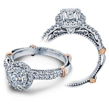 Verragio Parisian-123R - 14k White and Rose Gold Diamond Halo Engagement Ring by Verragio
