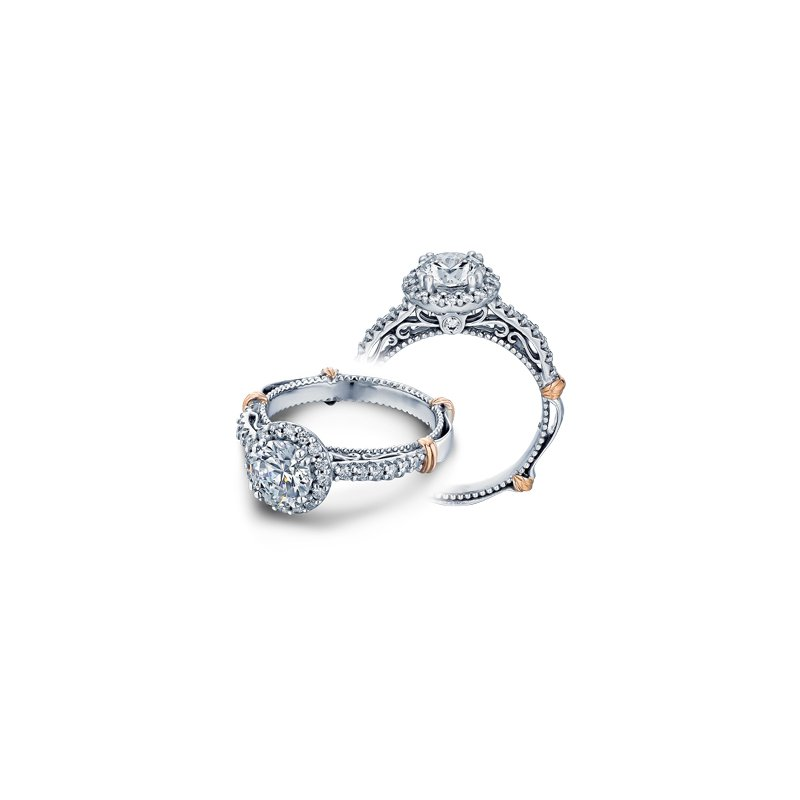 Verragio Verragio Parisian-123R - 14k White and Rose Gold Diamond Halo Engagement Ring by Verragio