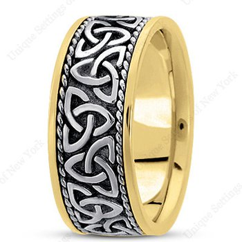 Unique Settings HM209 - Y - W - 14k Yellow and White Gold Handmade Celtic Design 10mm Men's Wedding Band