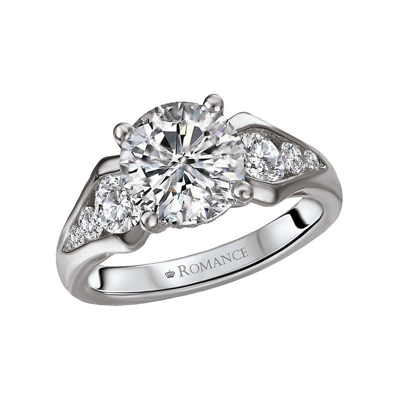 Signature Collection 14k White Gold Graduated Channel Diamond Engagement Ring