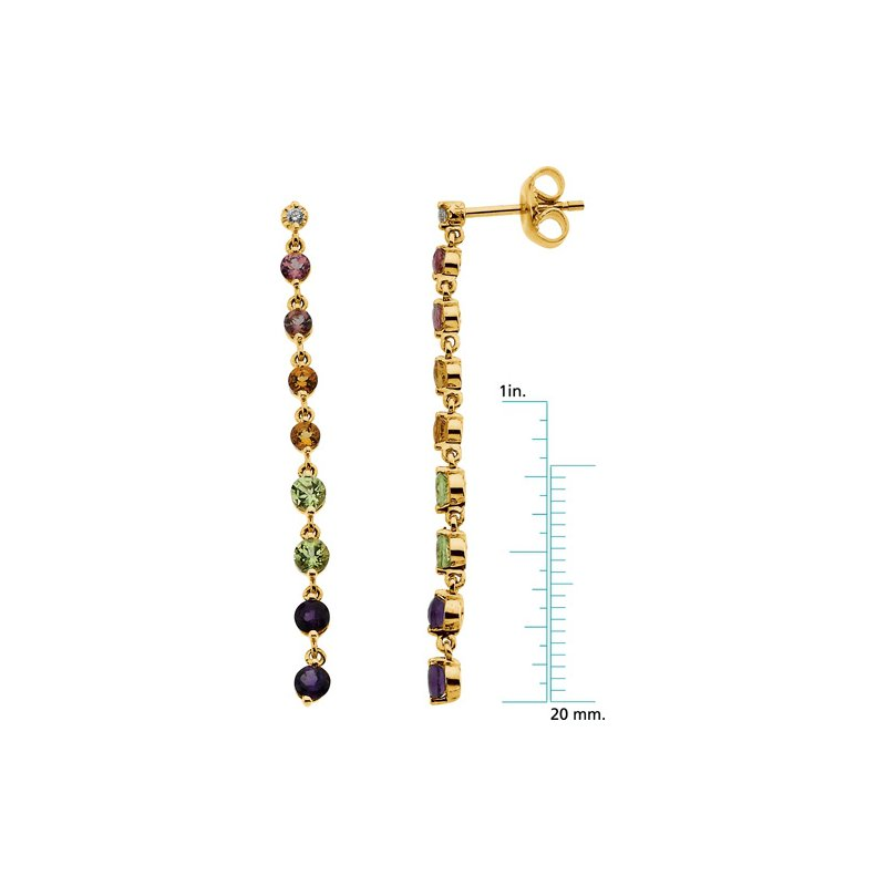 Signature Collection Genuine Pink Tourmaline, Citrine, Peridot, Amethyst & Diamond Earrings