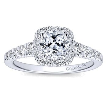 14k White Gold Cushion Halo Diamond Engagement Ring by Gabriel NY