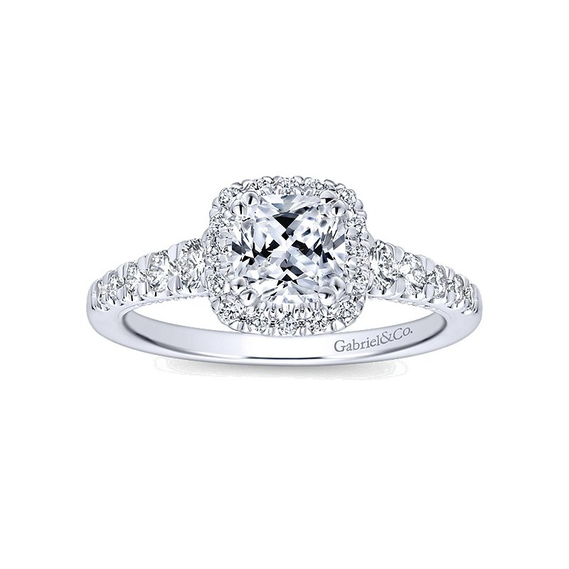Gabriel NY 14k White Gold Cushion Halo Diamond Engagement Ring by Gabriel NY