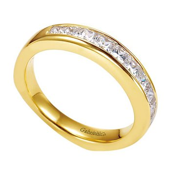 14k Yellow Gold Channel Set Diamond Wedding Band