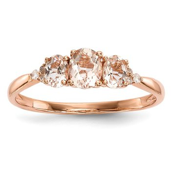 From the Promise Ring Collection 14k Rose Gold 3-Stone Morganite and Diamond Ring