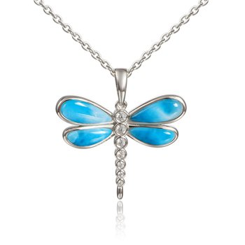 Sterling Silver Dragonfly Pendant with Larimar and Aquamarine
