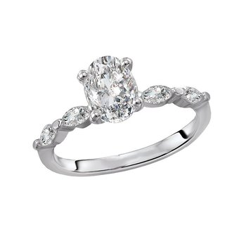 14k White Gold Engagement Ring with Marquise Diamonds