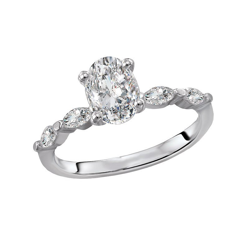 Signature Collection 14k White Gold Engagement Ring with Marquise Diamonds