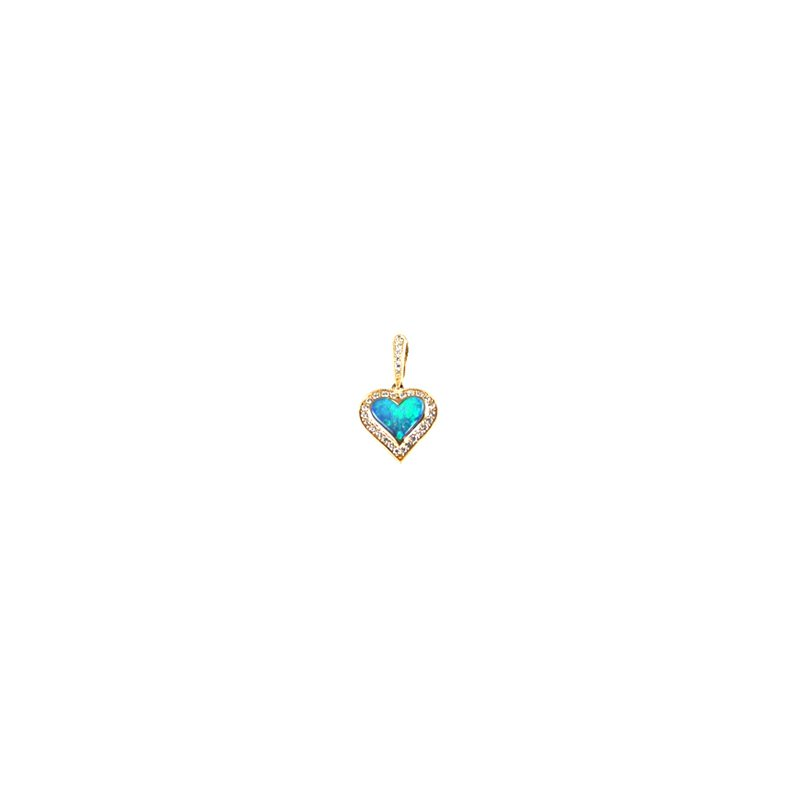Kabana Jewelry Kabana Australian Opal Inlay & Diamond Heart Pendant