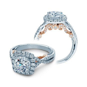 Verragio Insignia 7086CU-TT- 14k White and Rose Gold Cushion Halo Style Diamond Engagement Ring by Verragio