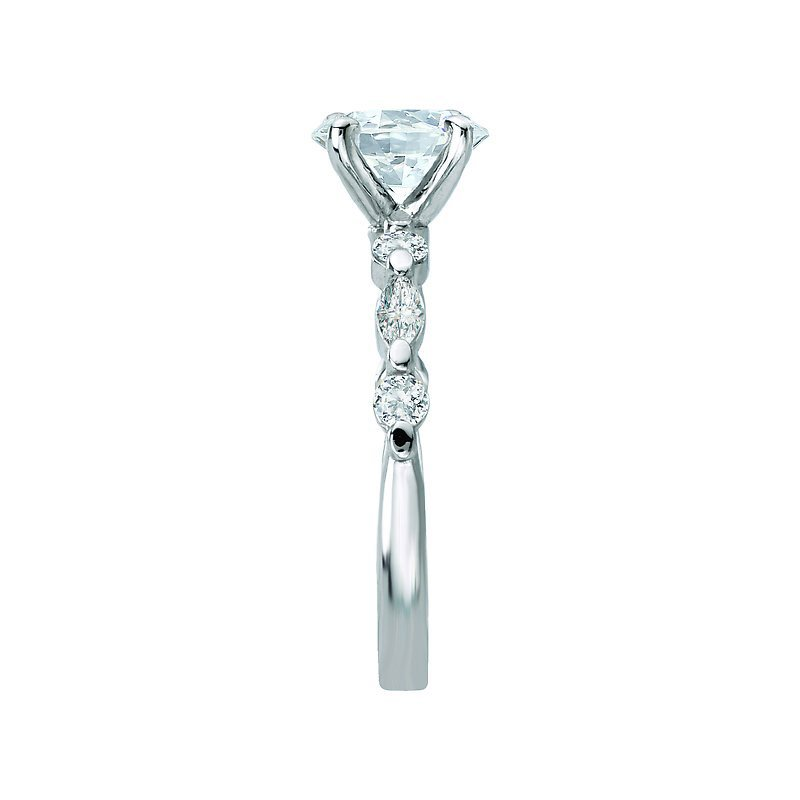 Signature Collection 14k White Gold Marquise & Round Brilliant Diamond Mounting