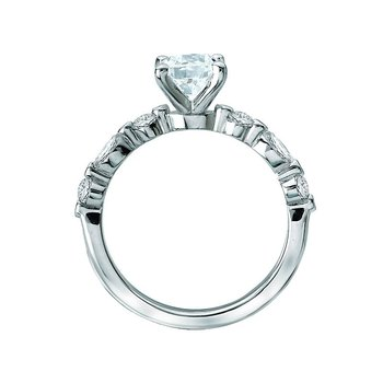14k White Gold Marquise & Round Brilliant Diamond Mounting