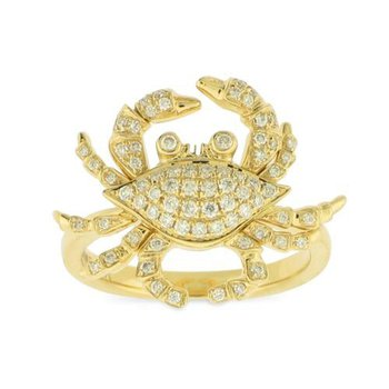 18k Yellow Gold Crab Ring with Diamonds - #42295