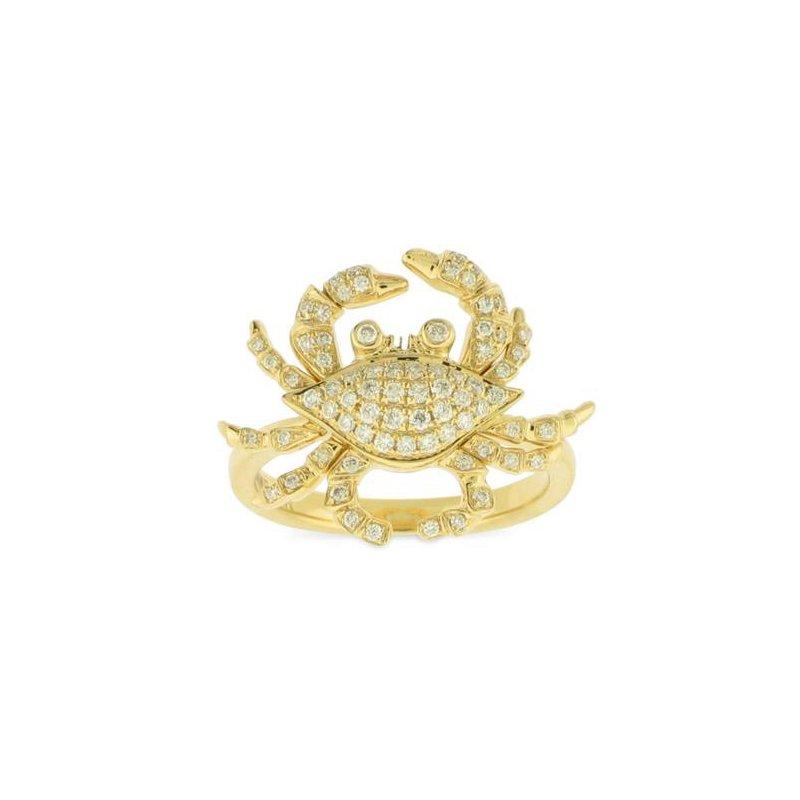 Sealife Jewelry 18k Yellow Gold Crab Ring with Diamonds - #42295