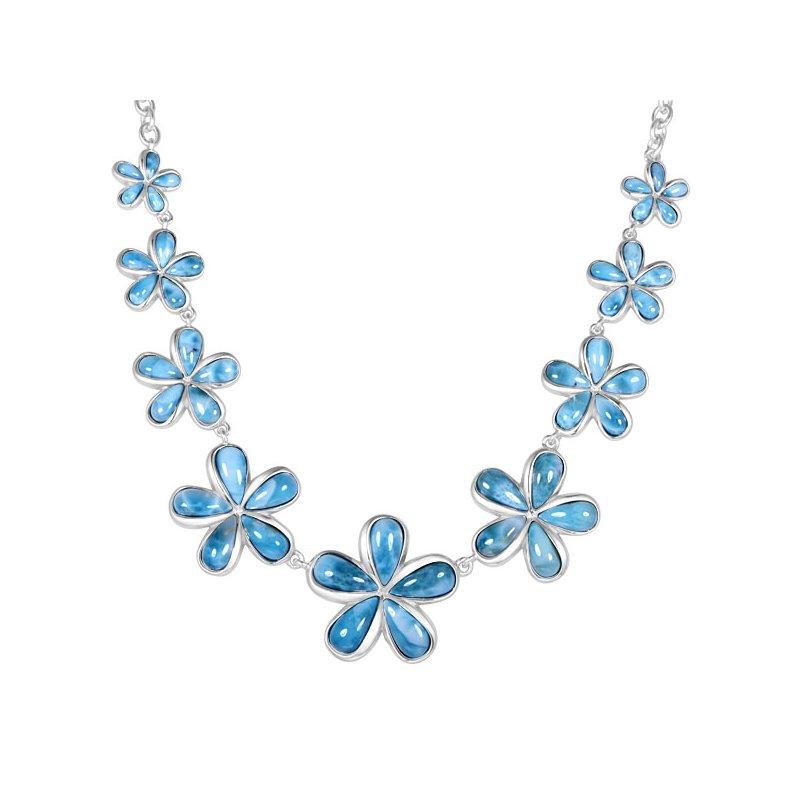 Sealife Jewelry Alamea Sterling Silver Larimar Plumeria Necklace