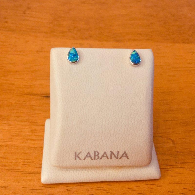 Kabana Jewelry Kabana Pear Shape Australian Opal Stud Earrings in 14k White Gold