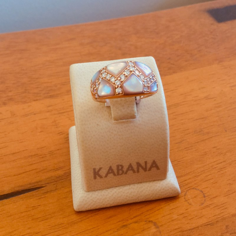Kabana Jewelry Kabana Pink Mother of Pearl and Diamond Ring