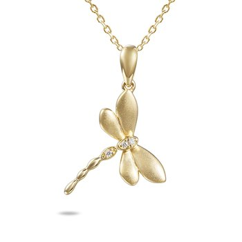14k Yellow Gold Dragonfly Pendant with Diamonds