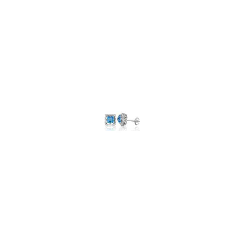 Signature Collection Genuine Blue Topaz and Diamond Earrings in 18k White Gold