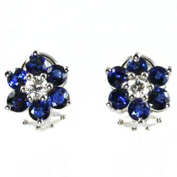 18k White Gold Genuine Blue Sapphire and Diamond Earrings - #27656